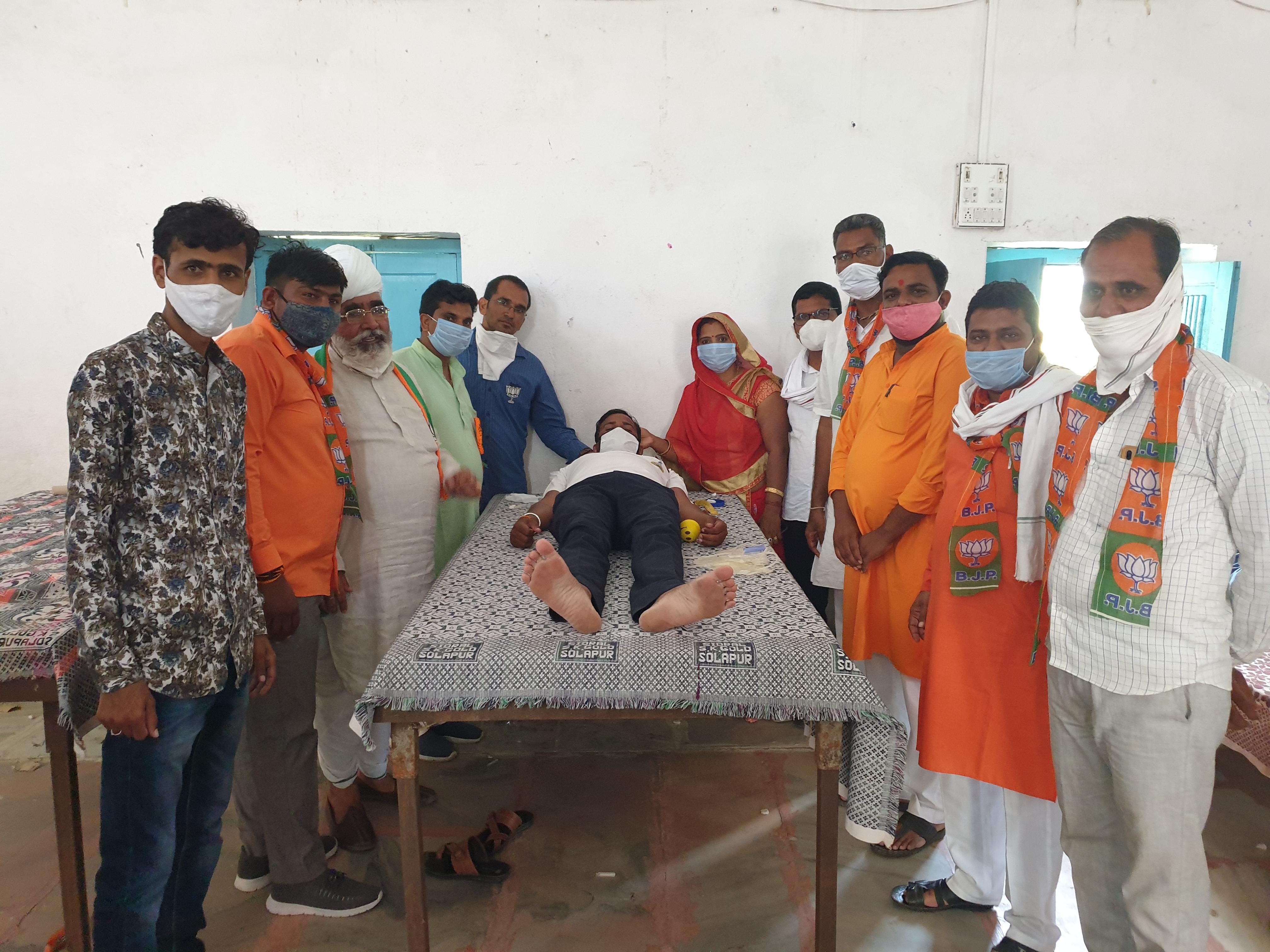 भाजपा के करेड़ा, ज्ञानगढ़  बागोर मंडल में रक्तदान शिविर का आयोजन